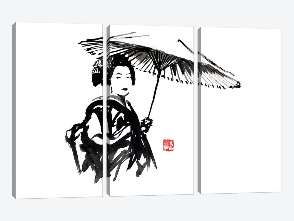 Geisha With Umbrella by Péchane 3-piece Canvas Art