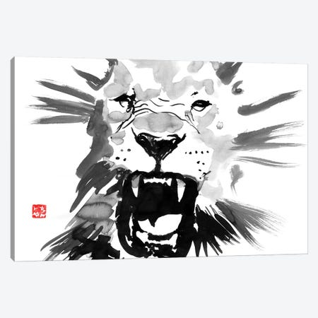 Lion Canvas Print #PCN97} by Péchane Art Print