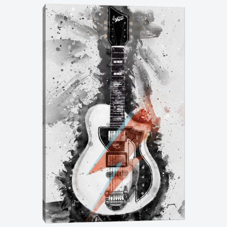 David Bowie's Guitar Caricature I Canvas Print #PCP10} by Pop Cult Posters Canvas Wall Art
