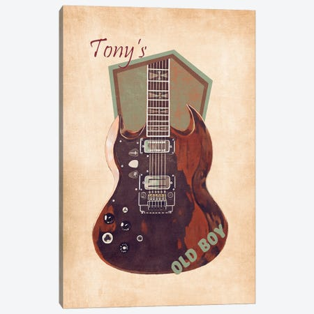 Tony Iommi's Guitar Retro Canvas Print #PCP116} by Pop Cult Posters Canvas Artwork