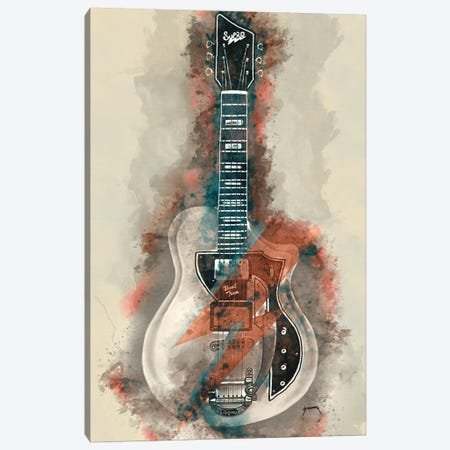 David Bowie's Guitar Caricature II Canvas Print #PCP11} by Pop Cult Posters Canvas Wall Art