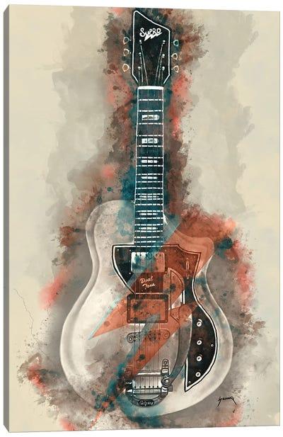 David Bowie's Guitar Caricature II Canvas Art Print