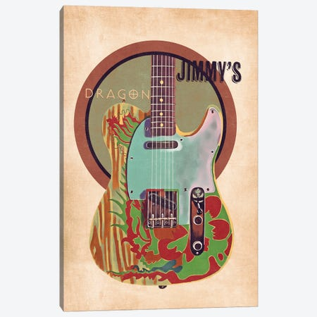 Jimmy Page's Guitar Retro Canvas Print #PCP120} by Pop Cult Posters Canvas Wall Art