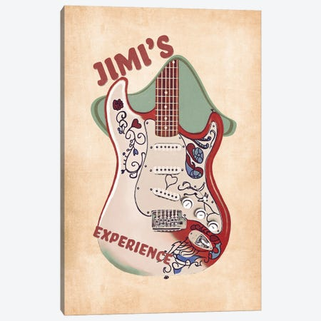 Jimi's Guitar Retro Canvas Print #PCP121} by Pop Cult Posters Canvas Artwork