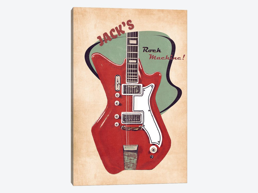 Jack White's Guitar Retro by Pop Cult Posters 1-piece Canvas Wall Art