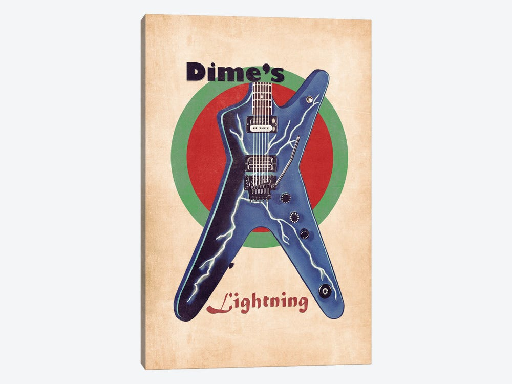 Dimebag Darrell's Retro Guitar by Pop Cult Posters 1-piece Canvas Art