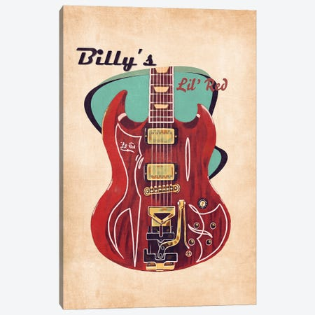 Billy Gibbons's Retro Guitar Canvas Print #PCP127} by Pop Cult Posters Canvas Art Print