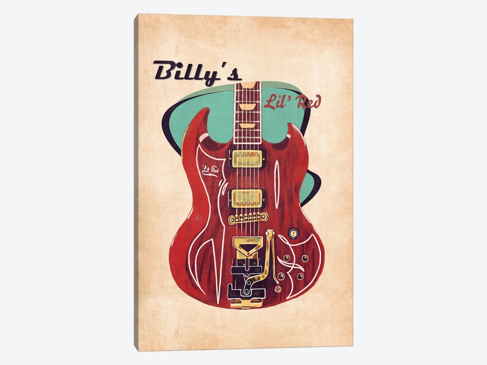 Billy Gibbons's Retro Guitar by Pop Cult Posters 1-piece Canvas Print