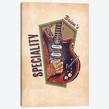 Brian May's Retro Guitar Canvas Print #PCP128} by Pop Cult Posters Canvas Art