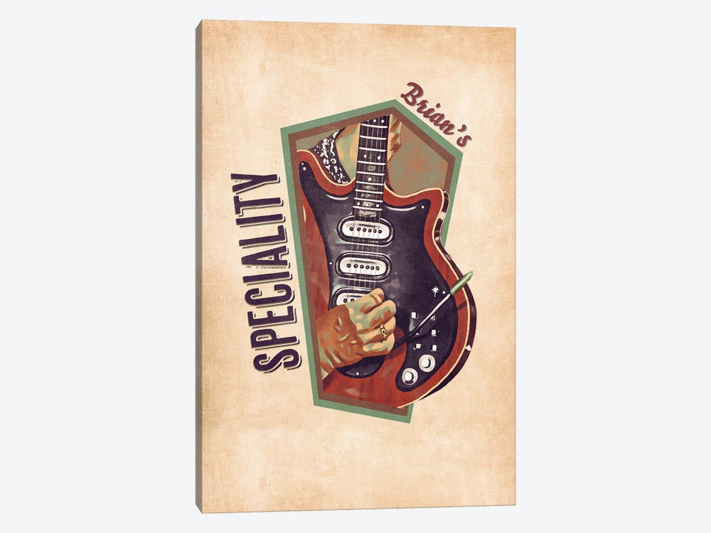 Brian May's Retro Guitar by Pop Cult Posters 1-piece Canvas Wall Art