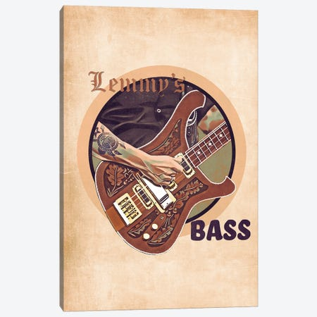 Lemmy's Bass Guitar Retro Canvas Print #PCP139} by Pop Cult Posters Canvas Art Print