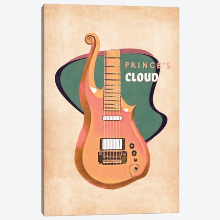 Prince's Guitar Retro Canvas Print #PCP140} by Pop Cult Posters Canvas Artwork