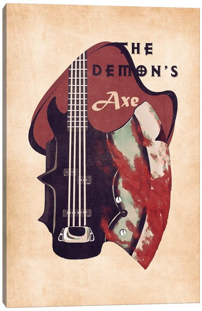 The Demon's Bass Guitar Retro Canvas Art Print