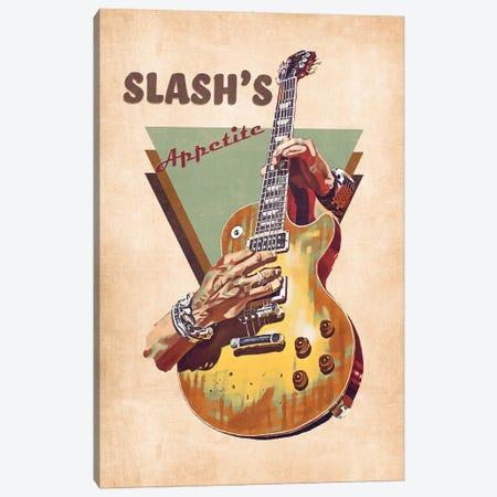 Slash Electric Guitar Retro Canvas Print #PCP144} by Pop Cult Posters Canvas Art Print
