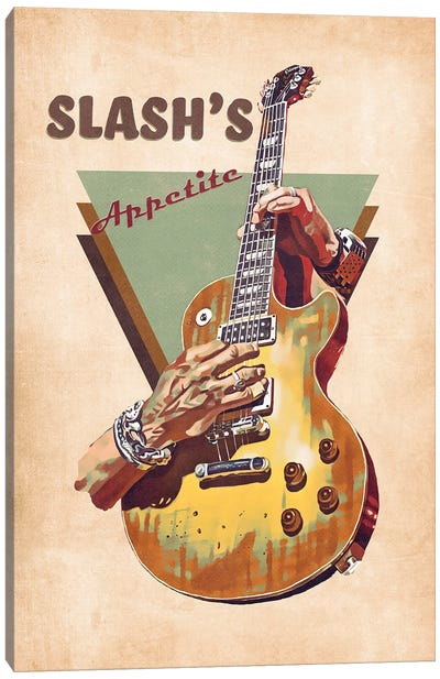 Slash Electric Guitar Retro Canvas Art Print