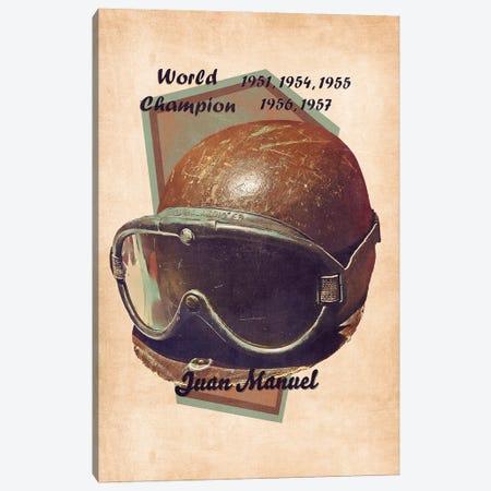 Juan Manuel Fangio's Helmet Retro Canvas Print #PCP147} by Pop Cult Posters Canvas Print