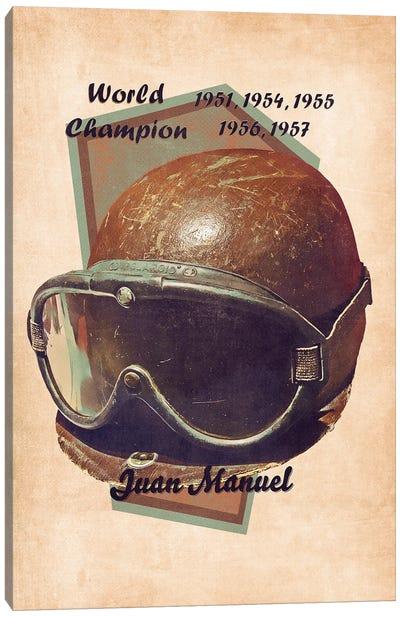 Juan Manuel Fangio's Helmet Retro Canvas Art Print