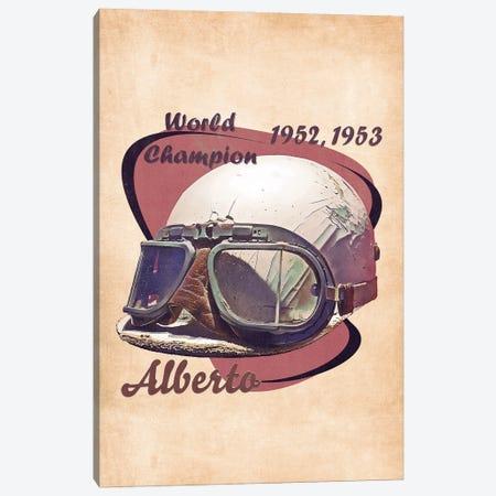 Alberto Ascari's Helmet Retro Canvas Print #PCP148} by Pop Cult Posters Canvas Artwork