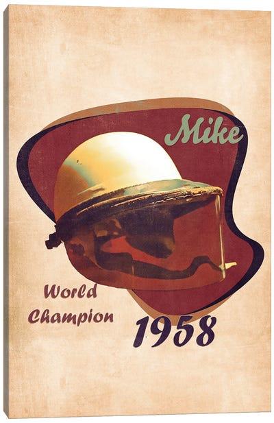 Mike Hawthorn's Helmet Retro Canvas Art Print