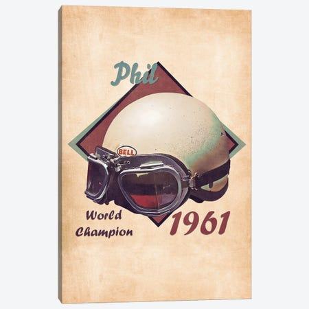 Phil Hill's Helmet Retro Canvas Print #PCP151} by Pop Cult Posters Art Print