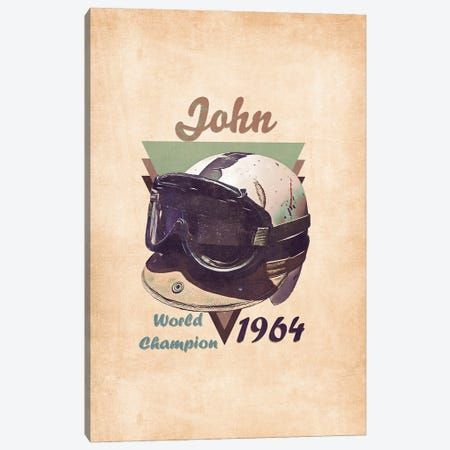 John Surtees's Helmet Retro Canvas Print #PCP154} by Pop Cult Posters Canvas Art