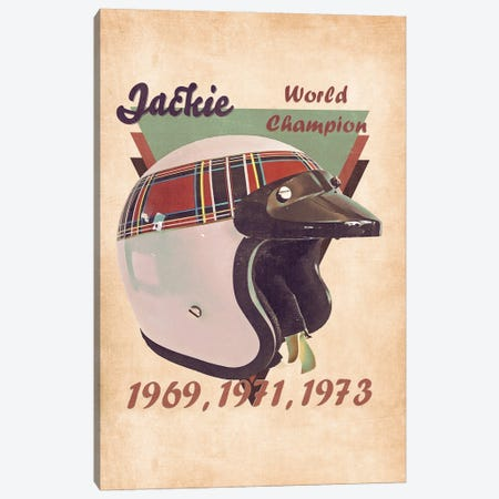 Jackie Stewart's Helmet Retro Canvas Print #PCP156} by Pop Cult Posters Canvas Art