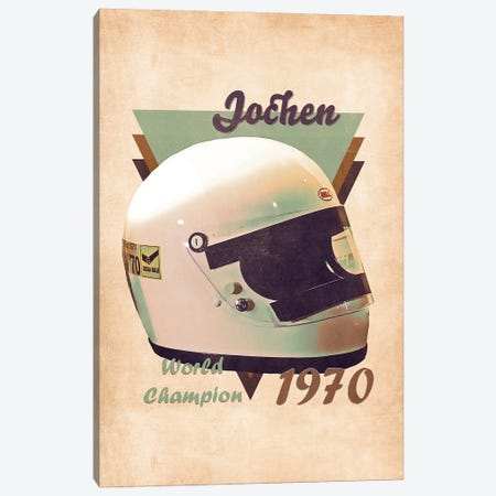Jochen Rindt's Helmet Retro Canvas Print #PCP157} by Pop Cult Posters Canvas Art