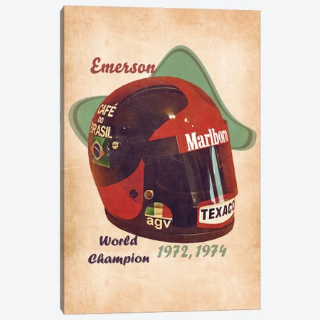 Emerson Fittipaldi's Helmet Retro Canvas Print #PCP158} by Pop Cult Posters Canvas Art Print