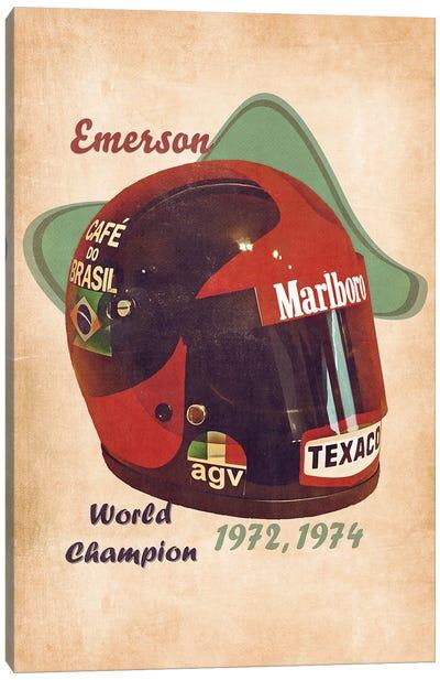 Emerson Fittipaldi's Helmet Retro Canvas Art Print