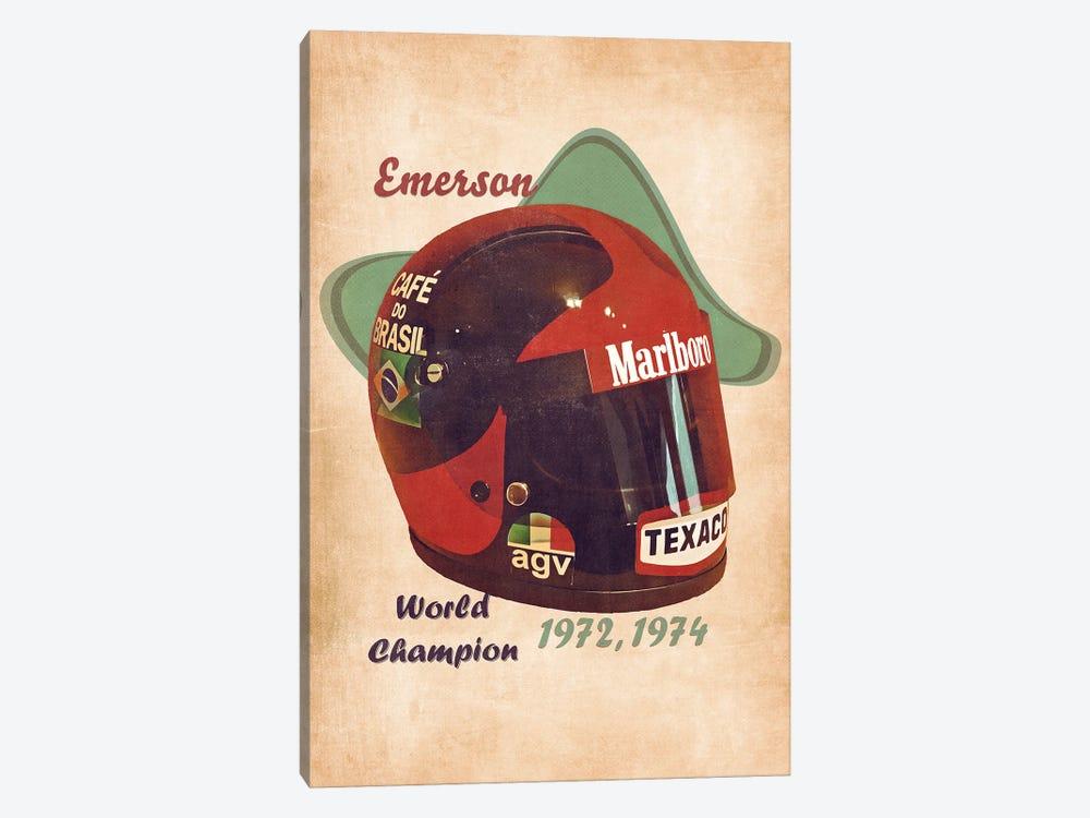 Emerson Fittipaldi's Helmet Retro by Pop Cult Posters 1-piece Canvas Art Print