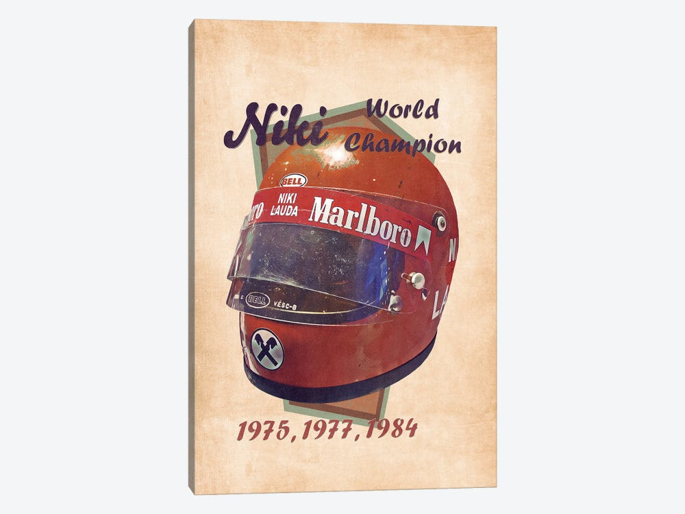 Niki Lauda's Helmet Retro by Pop Cult Posters 1-piece Canvas Wall Art