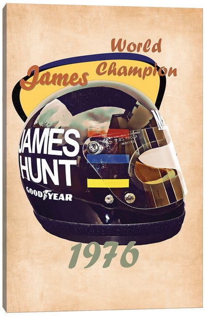 James Hunt's Helmet Retro Canvas Art Print