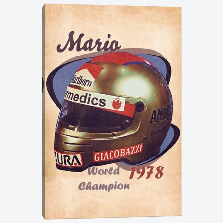 Mario Andretti's Helmet Retro Canvas Print #PCP161} by Pop Cult Posters Canvas Wall Art