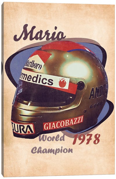 Mario Andretti's Helmet Retro Canvas Art Print