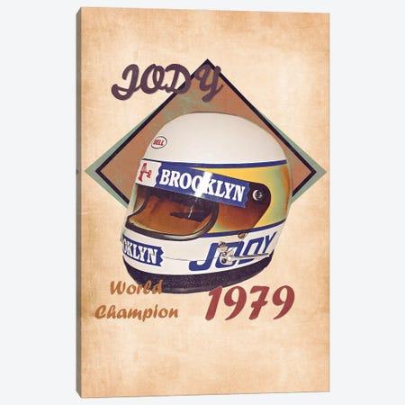 Jody Scheckter's Helmet Retro Canvas Print #PCP162} by Pop Cult Posters Canvas Art