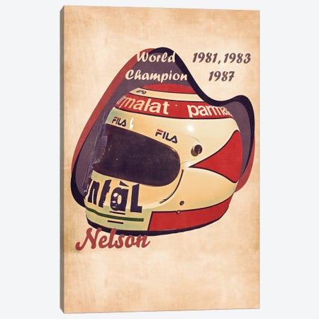 Nelson Piquet's Helmet Retro Canvas Print #PCP164} by Pop Cult Posters Canvas Art Print