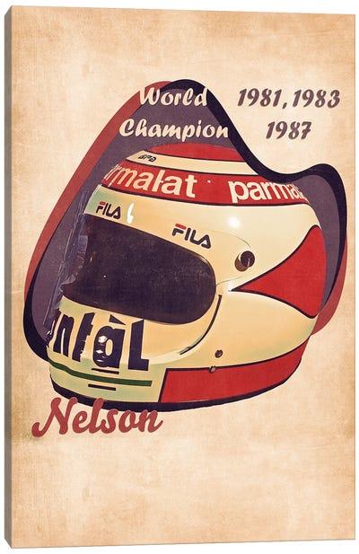 Nelson Piquet's Helmet Retro Canvas Art Print