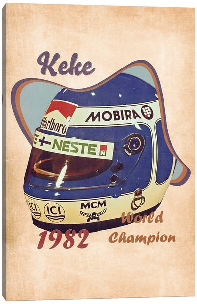 Keke Rosberg's Helmet Retro Canvas Art Print