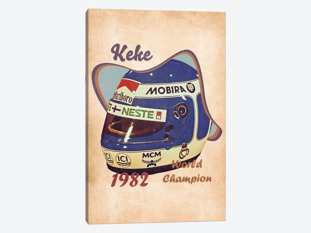 Keke Rosberg's Helmet Retro by Pop Cult Posters 1-piece Canvas Art Print