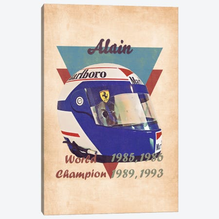 Alain Prost's Helmet Retro Canvas Print #PCP166} by Pop Cult Posters Canvas Print