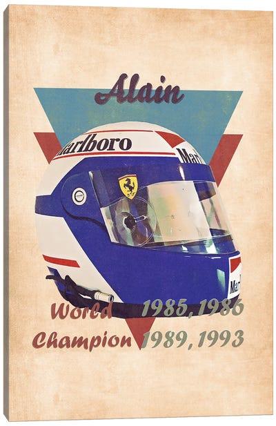 Alain Prost's Helmet Retro Canvas Art Print