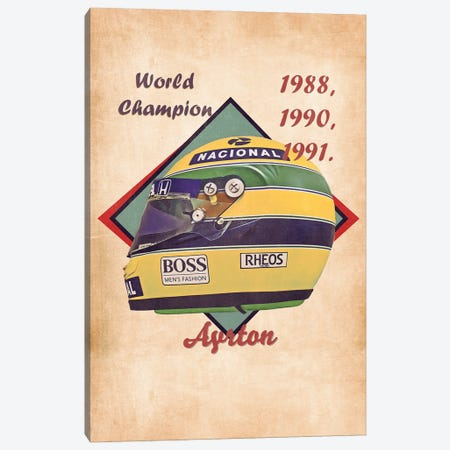 Ayrton Senna's Helmet Retro Canvas Print #PCP167} by Pop Cult Posters Canvas Art Print