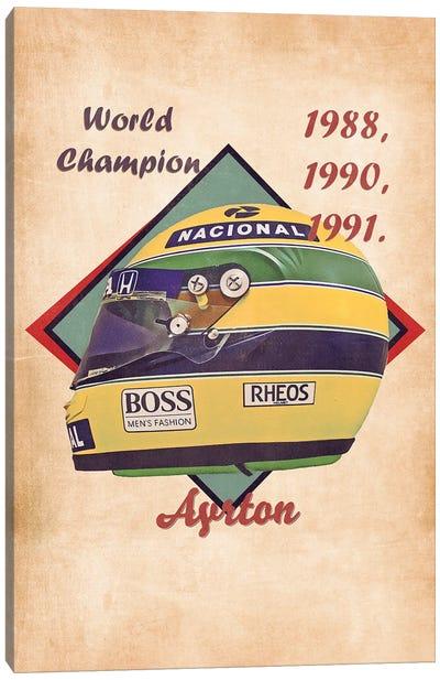 Ayrton Senna's Helmet Retro Canvas Art Print
