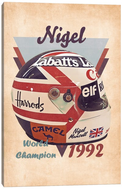 Nigel Mansell's Helmet Retro Canvas Art Print