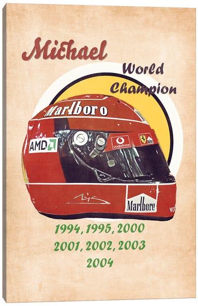 Michael Schumacher's Helmet Retro Canvas Art Print