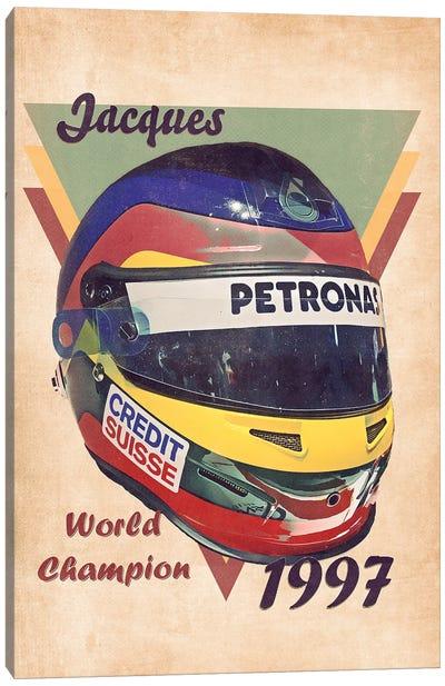 Jacques Villeneuve's Helmet Retro Canvas Art Print