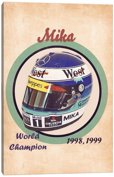 Mika Hakkinen's Helmet Retro Canvas Art Print