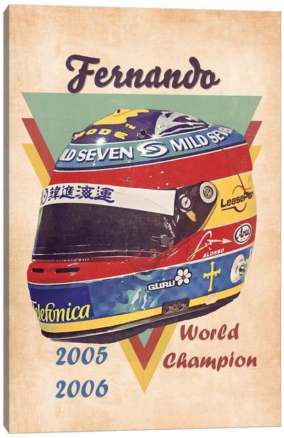 Fernando Alonso's Helmet Retro Canvas Art Print