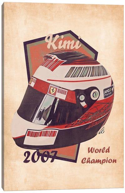 Kimi Raikkonen's Helmet Retro Canvas Art Print