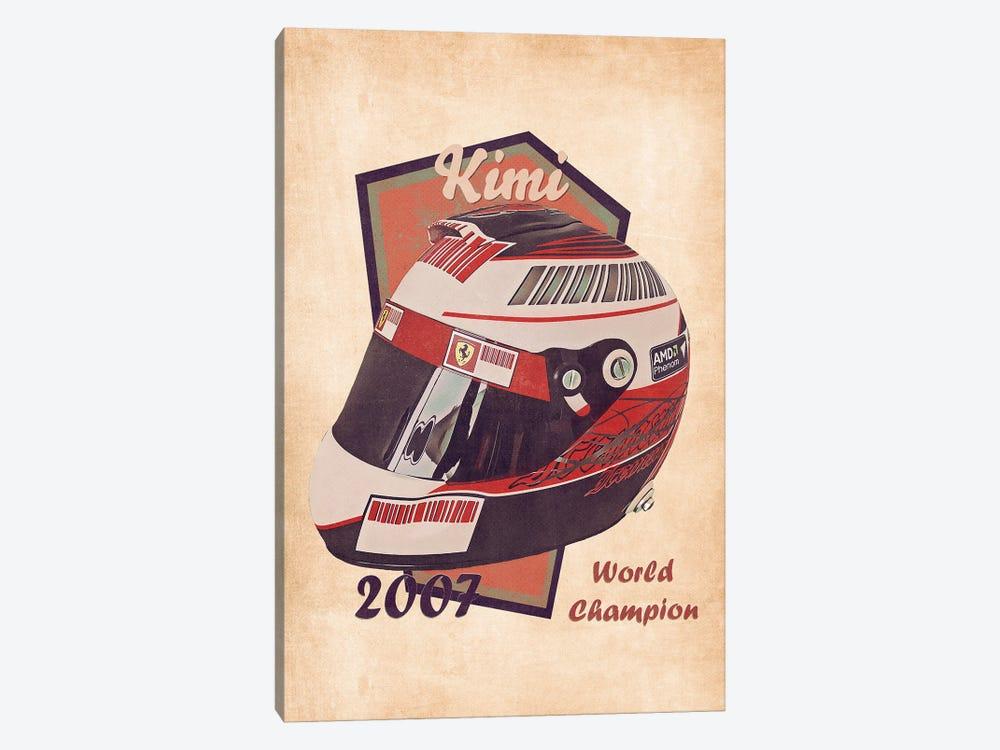 Kimi Raikkonen's Helmet Retro by Pop Cult Posters 1-piece Canvas Print